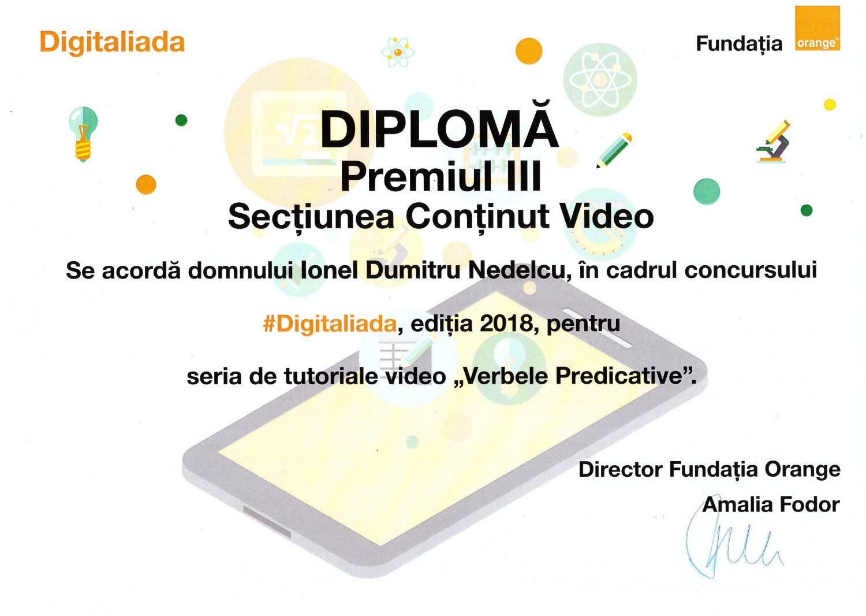 Diplomă Digitaliada 2018
